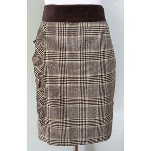 J MCLAUGHLIN Cashmere Plaid Ruffle Pencil Skirt